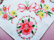50s Vintage PRINTED FLORAL Bouquet Hanky Colorful Pink Yellow Flowers Handkerchief To Frame Collectible Hankies Shabby Chic Hankies