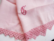 1930s Hand Embroidered and Crochet Lace Edged MADEIRA Linen Guest Powder Room Towel Lovely Rose Pink Monogram Chic Cottage Decor