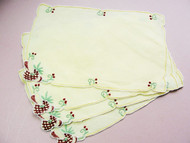 1950s MADEIRA Hand Embroidered Fun COCKTAIL Barware Napkins Place Mats Sweet Strawberries Chic Cottage Mid Century Retro Linens Decor