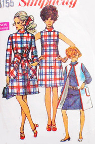 1960s Mod A Line Dress and Wrap Coat Pattern Simplicity 8155 Size 10 UNCUT  Womens Vintage Sewing Pattern