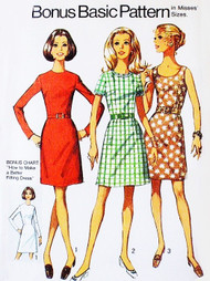 1960s BASIC  Dress Sewing Pattern SIMPLICITY 8858 Dress with 2 Skirts 2 Bodices Options Bust 38 Vintage Sewing Pattern UNCUT