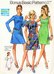 0s CLASSIC Basic Dress Pattern SIMPLICITY 8868 Three Style Versions Bust 34 Vintage Sewing Pattern UNCUT