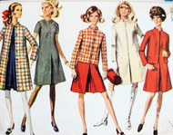 60s Mod Coat Dress Jacket Pattern Simplicity 7809 Fab Styles Size 8 Vintage Sewing Pattern UNCUT