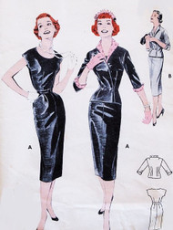 1950s Butterick 7383 Slim Sheath Wiggle Cocktail Dress and Jacket  Bust 32 Vintage Sewing Pattern