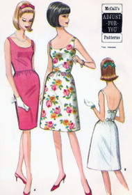 1960s Cocktail Party Dress Slim or Full skirt Pattern McCALLS 7827 Low Necklines Very Audrey Hepburn Bust 31-32 Vintage Sewing Pattern UNCUT