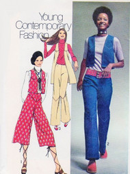 70s RETRO Culottes Gaucho Pants, Wide Leg Hip Hugger Pants Vests Pattern SIMPLICITY 9316 Vest 2 Lengths Bust 30.5 Vintage Sewing Pattern UNCUT