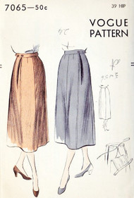 1950s CLASSY Maternity Skirt Pattern VOGUE 7065 UNIQUE Style Slim Skirt Side Pleats Hip 39 Vintage Sewing Pattern