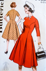 1960s Figure FLATTERING Box Pleated PRINCESS Dress Pattern BUTTERICK 9493 Bust 32 Vintage Sewing Pattern UNCUT