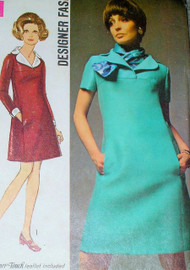RETRO Simplicity 8446 Vintage 60s Sewing Pattern Mod Twiggy Yoked Dress,Scarf Designer Pattern Airline Stewardess Style Size 12 UNCUT