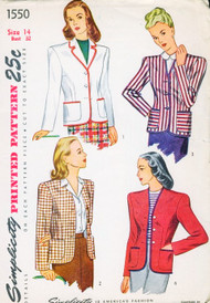 1940s CLASSIC Jacket or Blazer Pattern SIMPLICITY 1550 Cardigan Style Suit Jacket Casual or Dressy 4 Style Versions Bust 32 Vintage Forties Sewing Pattern