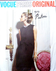 60s PATOU Cocktail Evening or Day Dress Pattern VOGUE PARIS Original 1572 Lovely Back Button Dress  Bust 34 Vintage Sixties Couture Sewing Pattern UNCUT + Label