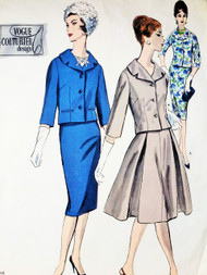 1960 STYLISH Suit and Blouse Pattern VOGUE COUTURIER Design 1489 Lovely Fitted Jacket Slim or Full Skirt, Pretty Peasant Style Blouse Bust 32 Vintage Couture Sewing Pattern