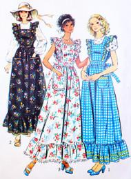 1970s Boho Maxi Apron Dress and Blouse Pattern Simplicity 6218 Ruffled Maxi APRON DRESS JUMPER Vintage Seventies Sewing Pattern