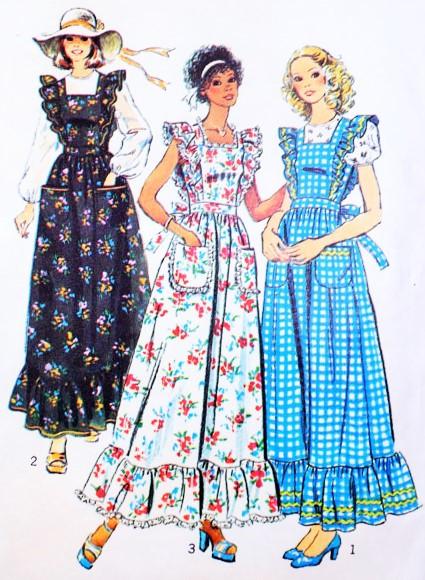 1970s Boho Maxi Apron Dress and Blouse Pattern Simplicity 6218 ...
