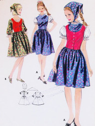 RARE The Sound Of Music Dress,Weskit Vest and Scarf Pattern BUTTERICK 3699 Adorable Kawaii Styles Bust 34 Vintage Sewing Pattern FACTORY FOLDED