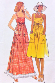 70s CUTE RETRO Wrap Dress Pattern BUTTERICK 4867 Back Wrapped Sun Dress Regular or MAXI Length Great For BeachWear Bust 36 Vintage Sewing Pattern UNCUT