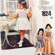 Vintage SMOCKING Little Vogue Sewing Pattern 1824 Toddlers Girls CUTE Smocked Dress Size 5