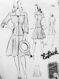 1940s CUTE Two Pc Frock Dress Pattern BUTTERICK 9392 Longer Length Overblouse Flared Skirt Pretty Style Details Bust 36 Vintage Forties Sewing Pattern FF