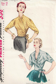 1950s FAB Wrap Around Blouse Pattern SIMPLICITY 4158 Simple To Make Bust 36 Vintage Fifties Sewing Pattern