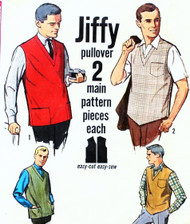 60s Mens Jiffy Pullover Tops Pattern Simplicity 4728 Vintage Sewing Pattern Mad Men Style Size X Large Chest 46-48
