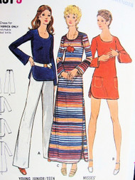 1970s FAB Beach CoverUp Maxi Dress or Tunic Top and Pants Pattern BUTTERICK 6614 Bust 34 Vintage Seventies Sewing Pattern