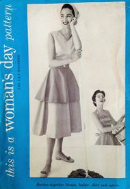1950s CUTE Button Together Blouse,Halter Top, Skirt and Hostess Apron Pattern WOMANS DAY 5066 Bust  32 Vintage Sewing Pattern FF