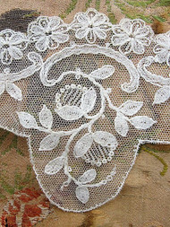 Breathtaking Antique FRENCH Netted Tambour LACE Circular Applique Flounce Roses Flowers Bridal Wedding Flapper Era Downton Abbey Gatsby