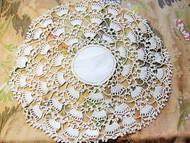Lovely Vintage Linen and Crochet Lace Large Doily Centerpiece Wide Lace Great Cottage Romantic Home Decor
