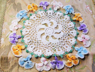 Vintage 1940s PRETTY Figural Flowers Hand Crocheted Lace Doily Centerpiece Table Topper Decorative Shabby Chic Romantic Cottage Decor