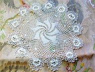 Antique Victorian Fine Irish Crochet Lace Doily Raised Roses Pine Wheel Center Just Beautiful Romantic Cottage Decor