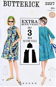 60s BUTTERICK 3227 MOD A-Line Beach Cover Up or Beach Coat Robe Pattern Bust 32 Quick n Easy Vintage Sewing Pattern UNCUT