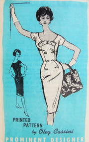 1960s  DRAMATIC Oleg Cassini Slim Day or Cocktail Dress Pattern Prominent Designer 686 Vintage Sewing Pattern Figure Show Off Style Bust 32