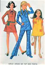 70s RETRO Girls Lace Up Dress Tunic and Pants Pattern McCALLS 2482 Hip Styles Size 14 Childrens Vintage Sewing Pattern UNCUT