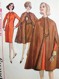 60s ELEGANT Reversible Cape Coat, Ascot and Slim Dress Pattern SIMPLICITY 5674 Classy Day or After 5 Styles Bust 36 Vintage Sewing Pattern UNCUT