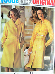 70s DIOR Trench Coat and Midriff Dress Pattern VOGUE Paris Original 2911 Classy Timeless Designs Bust 34 Vintage Sewing Pattern FACTORY FOLDED