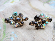BRILLIANT Topaz Brown Rhinestone Screw Back Earrings With Aurora Borealis Stones Julianna Vintage Costume Jewelry