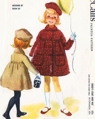 60s LOVELY Helen Lee Childs Little Girls Coat and Hat Pattern McCALLS 5615 Toddler Size 3 Sweet Designer Childrens Vintage Sewing Pattern