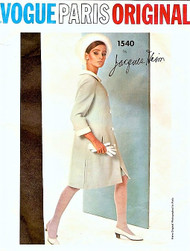 60s JACQUES HEIM Coat and Dress Pattern Vogue Paris Original Sew in Label Bust 34 Vintage Sewing Pattern FACTORY FOLDED