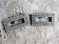 VINTAGE Sparkling Rhinestone Shoe Clips Art Deco Gatsby Style Diamante Shoe Decorations Shoe Buckles Dress Up Your Shoes