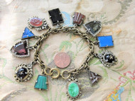 BEAUTIFUL Art Deco Czech Glass FOB Charm Bracelet 12 Detailed Watch Fobs,Quality 1920s-30s Unique Bracelet,Collectible Czech Glass Jewelry