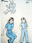 1940s CHILDRENS PJS BUTTON ON BOTTOMS PATTERN Advance Vintage Sewing Pattern 3783