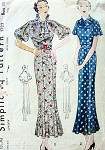 1930s ART DECO DRESS PATTERN SLIM WITH BOTTOM FLARE 2 BODICE and SLEEVE STYLES GORGEOUS THIRTIES STYLES SIMPLICITY 1723 Bust 32