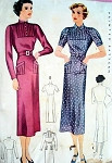 1930s McCall Pattern 9061 Slim Dress Tuck Details Two Collar Styles