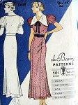 1930s PRETTY DRESS PATTERN LARGE COLLAR, PUFF SLEEVES, VERY BETTE DAVIS STYLE DuBARRY PATTERNS 1168