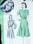 1940s Hollywood Pattern 602  Very Pretty Dress Flippy 12 Gored Skirt Tucked Bodice Shaped Yoke Featuring Lucille Fairbanks Warner Bros