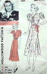1930s HOLLWOOD PATTERN 1364 BEAUTIFUL BIAS CUT DRESS SHIRRED BODICE and SLEEVES FEATURES MOVIE STAR JOAN BLONDELL