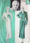 1930s HOLLYWOOD DRESS FROCK PATTERN FEATURING ANN HARDING SLIM  TAILORED DRESS