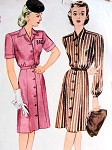 1940s SHIRT DRESS PATTERN  CLASSIC  WAR TIME STYLE SIMPLICITY 1083
