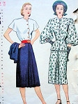 1940s SIMPLICITY 1940 DRESS, JACKET PATTERN FRONT BUTTON BODICE DRESS, BEAUTIFUL  ADRIAN DESIGN JACKET SLEEVES