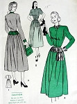 1940s  DRESS PATTERN HIPLINE YOKE ACCENTS, DIRNDL SKIRT BUTTERICK 4343